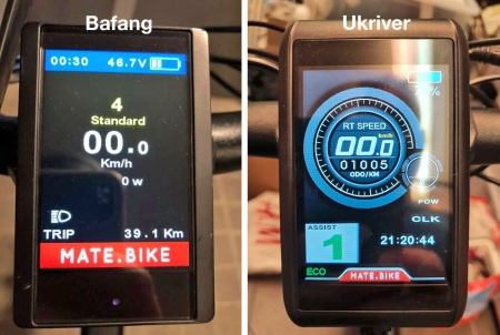 Left Bafang color display, right Ukriver color display